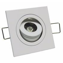 Mini Spot Croica Led Direcional Embutir Qd 1w Frio 6500k 6x6