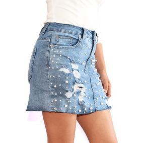 Mini Falda Con Perlas Para Dama Mezclilla Surtimoda