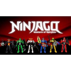Kit 6 Bonecos Ninjago - Kai Jay Cole Zane Lloyd Sensei Wu