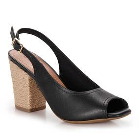 Sandália Salto Espadrille Conforto Feminina Usaflex - Preto