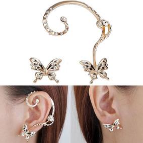 Ear Cuff Borboleta Strass, Brinco Encaixe, Bracelete Orelha