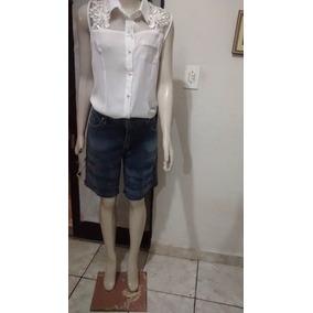 Short Bermuda Jeans Trabalhado Super Conservado Usado N42