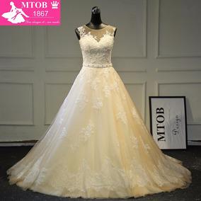 Vestido De Novia Tulle Champagne (talla 4 | Color Champaña)