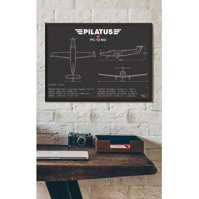 Pôster Pilatus Pc-12ng - Interlakes - Quadro Avião