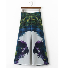 Pantalon Dama Cintura Alta Anchos Gaza Ropa Animal Print
