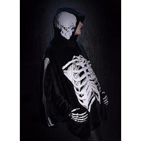 Dr Frankenstein Capa Negra Gotica Squeleto Brilla Obscuridad