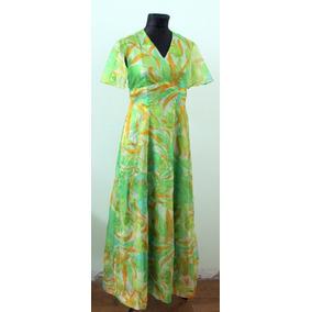 Original Vestido Vintage Vestuario Verde 70s Impecable - En