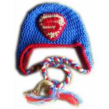 A Pedido Gorros Niños Super Heroes Orejeras Trenzas Crochet