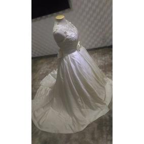 Vestido De Noiva Cor Pérola Com Bolsos Laterais 44-46 Luxo