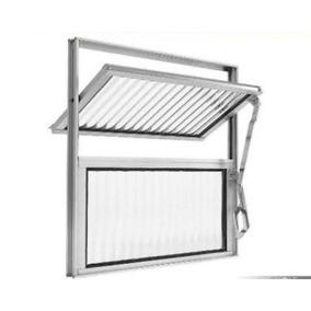 Janela Basculante Alumínio 2 Vitrôs Banheiro 40x40cm