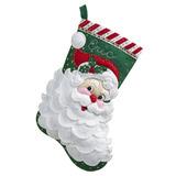 Kit Bucilla Aplique De Fietro Calcetín Navidad Santa Jolly