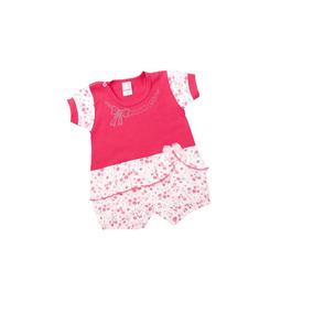 Macacão Curto Bebe Menina Aplique Laços Ref 9162