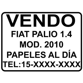 Cartel Vendo Auto - Sticker - Calco - Vinilo Autoadhesivo