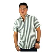 Camisa Manga Corta Slim Fit Cuello Mao De Rayas