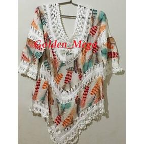 Blusa Estampada Bata Trabalhada Com Crochê-maravilhosa-verão
