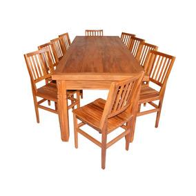 Mesa De Madeira De Demolição 2,5 M Com 10 Cadeiras Cambury