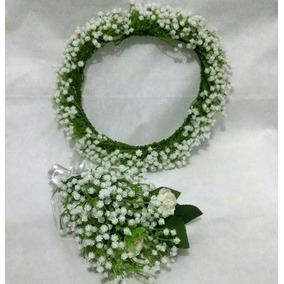 Coroa + Buquê Pequeno De Flores Artificiais (gipsofila)
