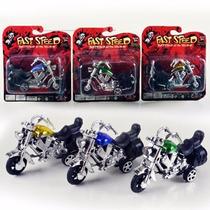Kit 3 Motos Miniaturas Fricção Brinquedos No Blister 10 Cm