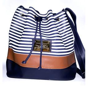 Bolsa Saco Bucket Bag Média Listrada Azul Promoção 622dcd1b371
