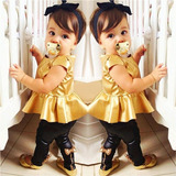 Roupa Infantil - Blusa Dourada + Legging Preta (2 Anos)