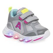 Zapatillas Addnice Evolution Nena Velcro Gris Con Luz 2152