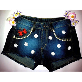 Short Feminino Customizado Com Renda E Perólas