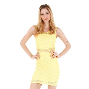Vestido Com Renda Facinelli - Amarelo