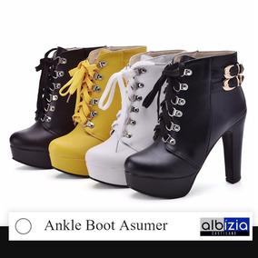 Bota Feminina Salto Alto Ankle Boot Asumer