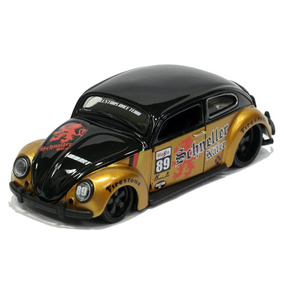 Miniatura Volkswagen Fusca Custom Tunado E Rebaixado Dourado