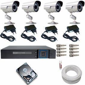 Kit Completo 4 Câmeras De Segurança C/ Gravador Digital Dvr