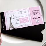 Tarjeta + Sobre Opaco Ticket Pasaje Paris 15 Años Eiffel