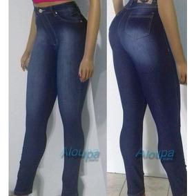 Calça Jeans Feminina Levanta Bumbum Cós Alto Strech Dins