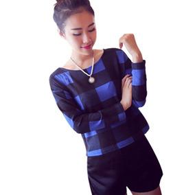 Blusa Feminina Xadrez Moda Blogueira Luxo