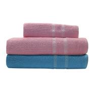 Kit Jogo Toalhas 1 Rosto 2 Banho Azul E Rosa 100% Algodão