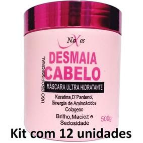 Kit 12 Máscaras Desmaia Cabelo Ultra Hidratante Naxos 500g