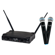 Microfone Duplo Sem Fio Uhf Lyco Uh-02mm - 1 Ano De Garantia