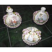 Coleccion 3 Frascos De Fina Porcelana Artesania Rococo