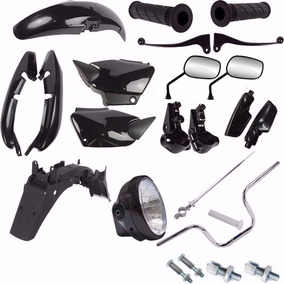 Kit Carenagem + Kit Guidao Farol Cg 125 Fan 2004/2008 Preto
