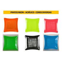 Pratos Neon - 16cm - Acrílico- Festa Balada 50 Unidades