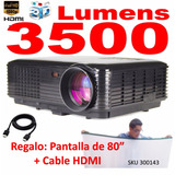 Video Beam Proyector Led Hd 3d Tv 1080p+ Telon + Cable - W01