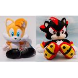 Boneco Tails E Sonic Negro Shadow Pelúcia - 28 Cm!