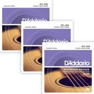 Pack 3 Encordados Guitarra Acustica Ej263d Bronce Fosfor 011