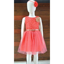 Vestido Formal Niña Tul Coral Talla 6 Envío Gratis
