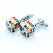 Mancuernillas Camisa Cubo Rubik De Acero Gemelos Para Hombre