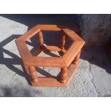 Mesa Ratona Exagonal De Algarrobo (doble Vidrio )