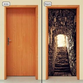 Adesivo Decorativo De Porta - Escada De Pedra - 024mlpt