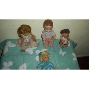 Antiguo Lote De 4 Muñecos Moviles Bebes