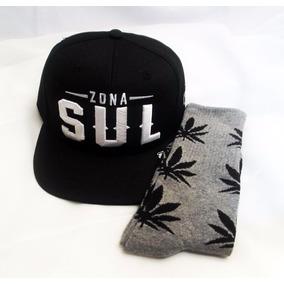 Kit Boné Tom Hill Zona Sul + 1 Meia Estampa Folha Maconha