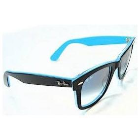 Óculos De Sol Wayfarer 2140 Acetato Azul Lente Fumê Degradê