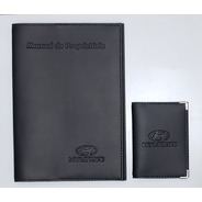 Kit Hyundai Porta Manual E Porta Documentos Couro Eco